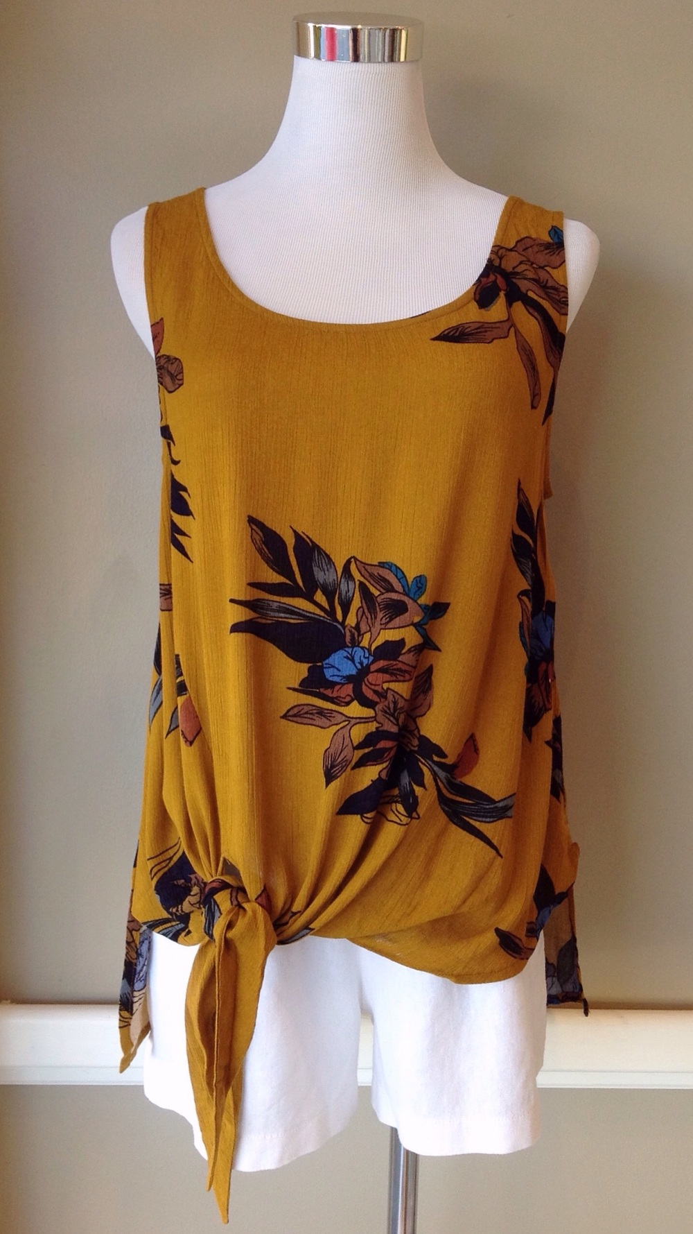 Mustard floral print tank with self-tie, $32