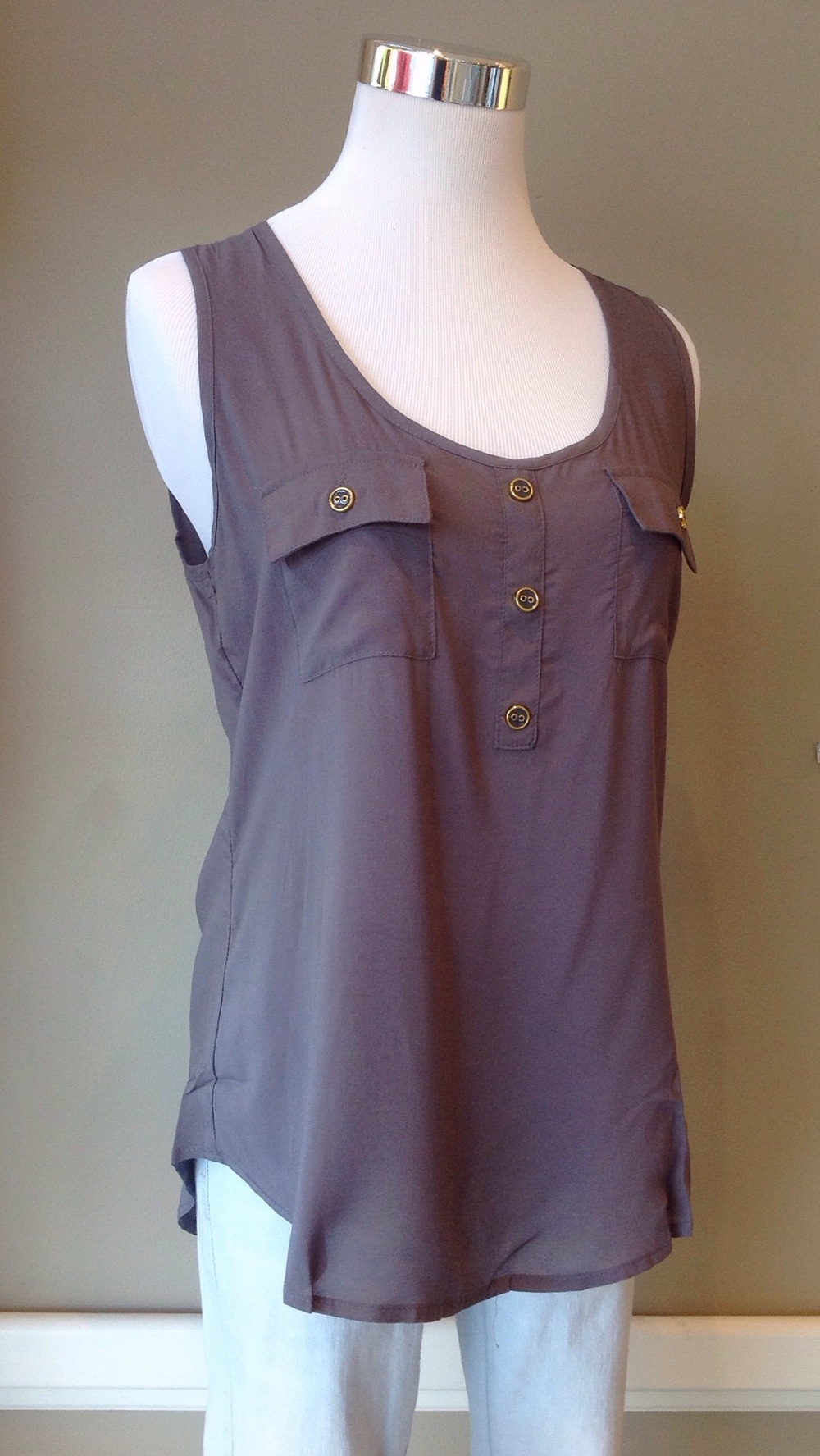 Rayon voile tank top with pocket detail in grey, $26