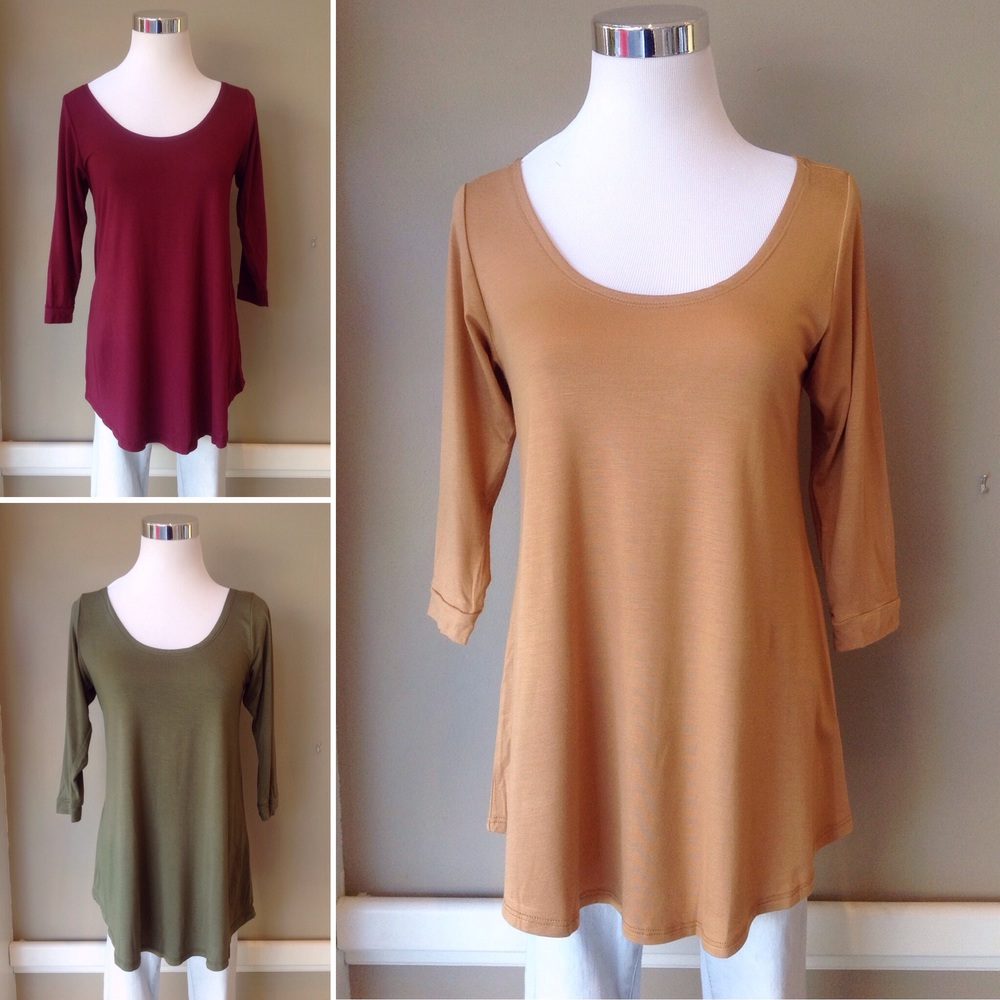 Scoop neck knit tops with 3/4 sleeves, $28