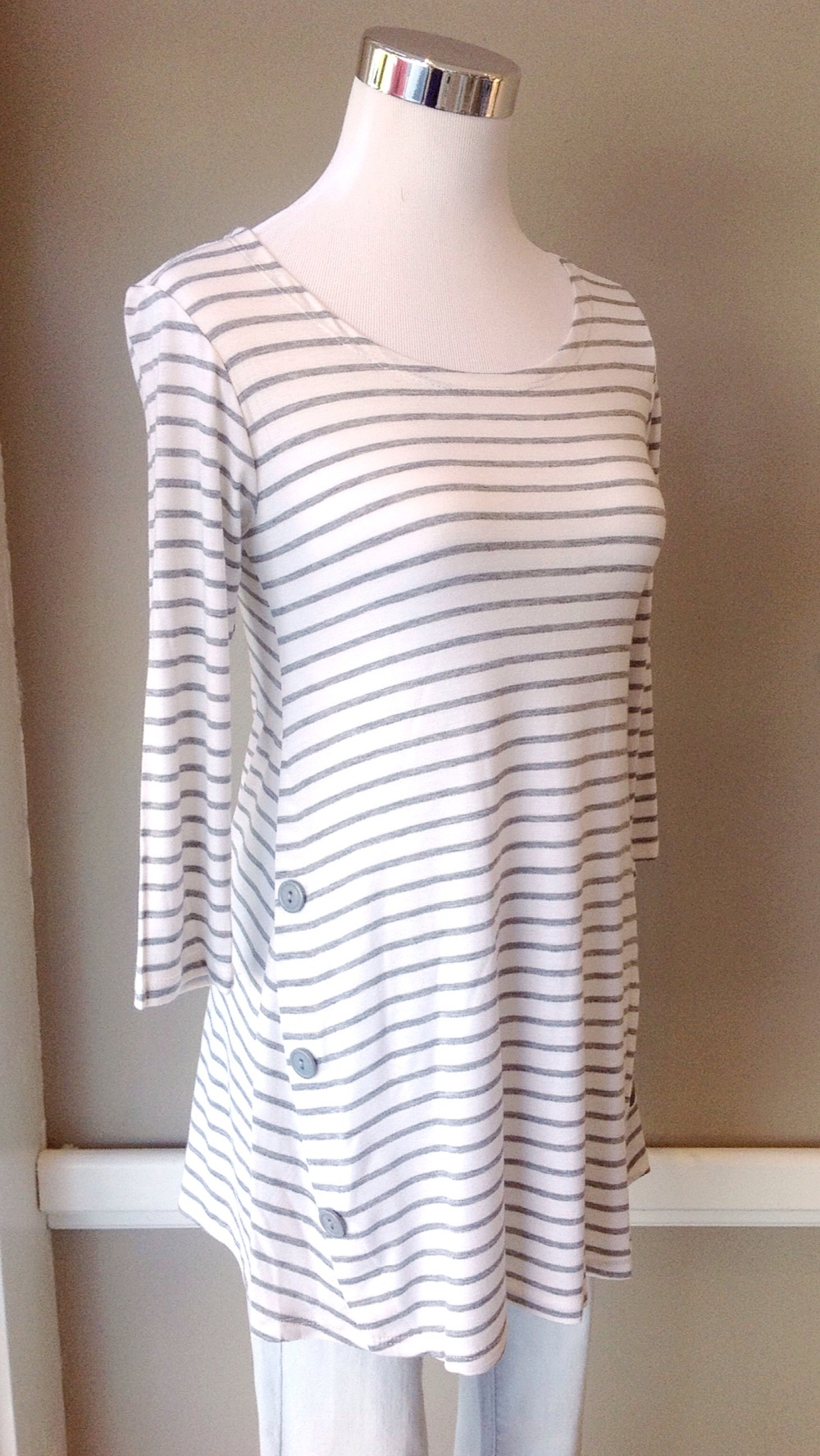 Stripe side button top with 3/4 sleeves in off-white/grey, $32