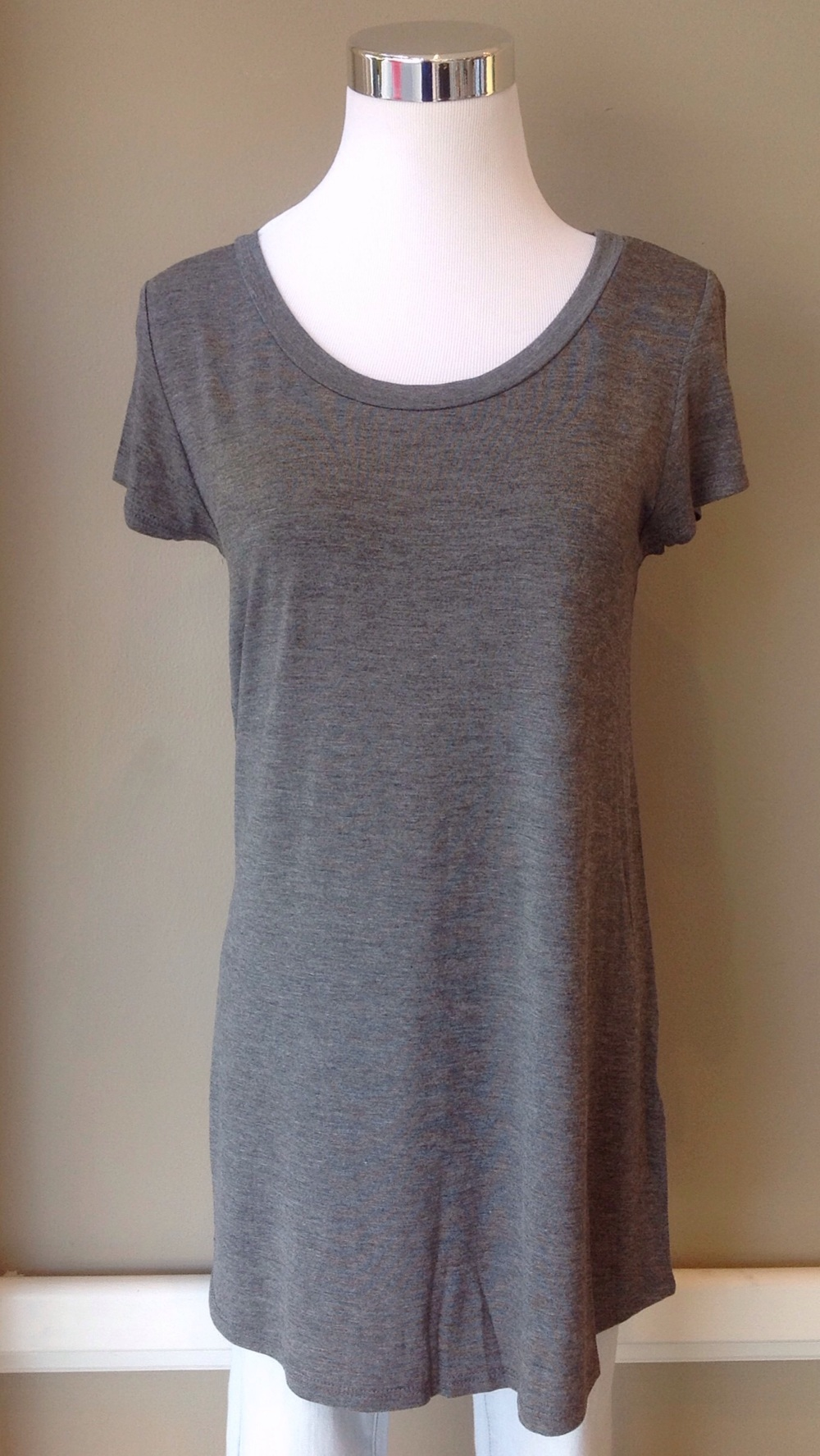 Bestselling scoop neck tee in charcoal, $24