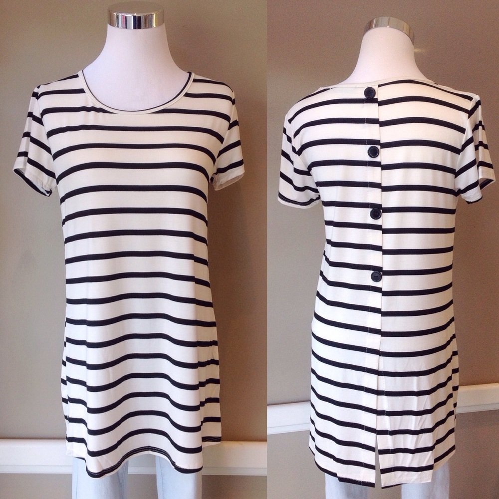 Black and white stripe top with back button detail, $30