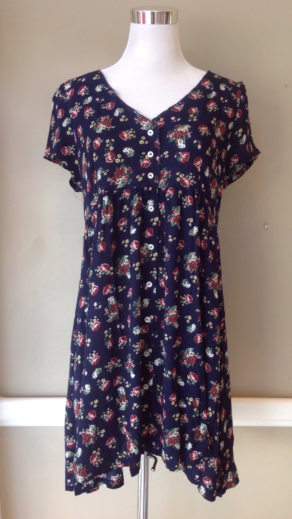 Navy floral print babydoll dress, $38