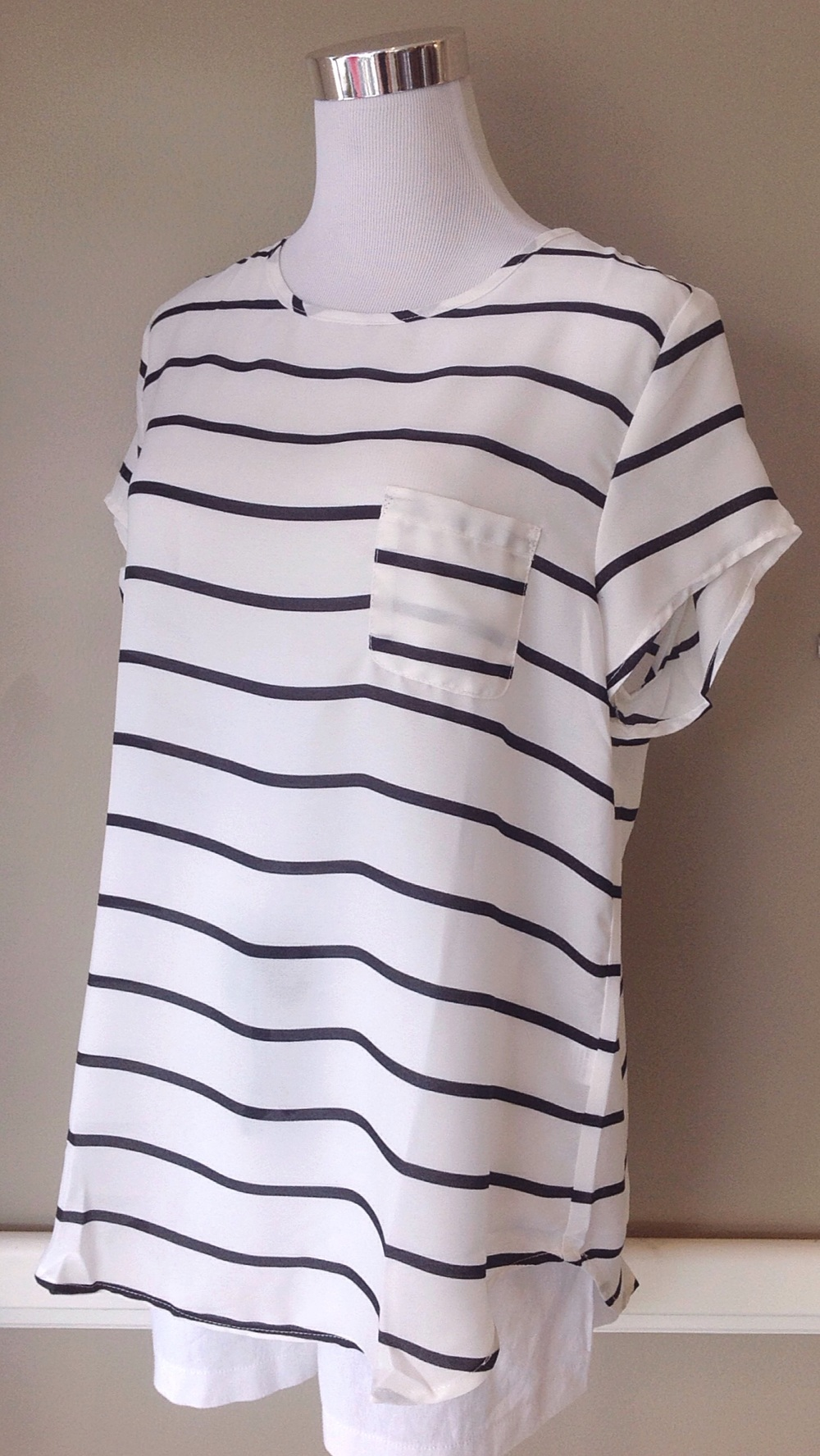 Black and white stripe top, $32