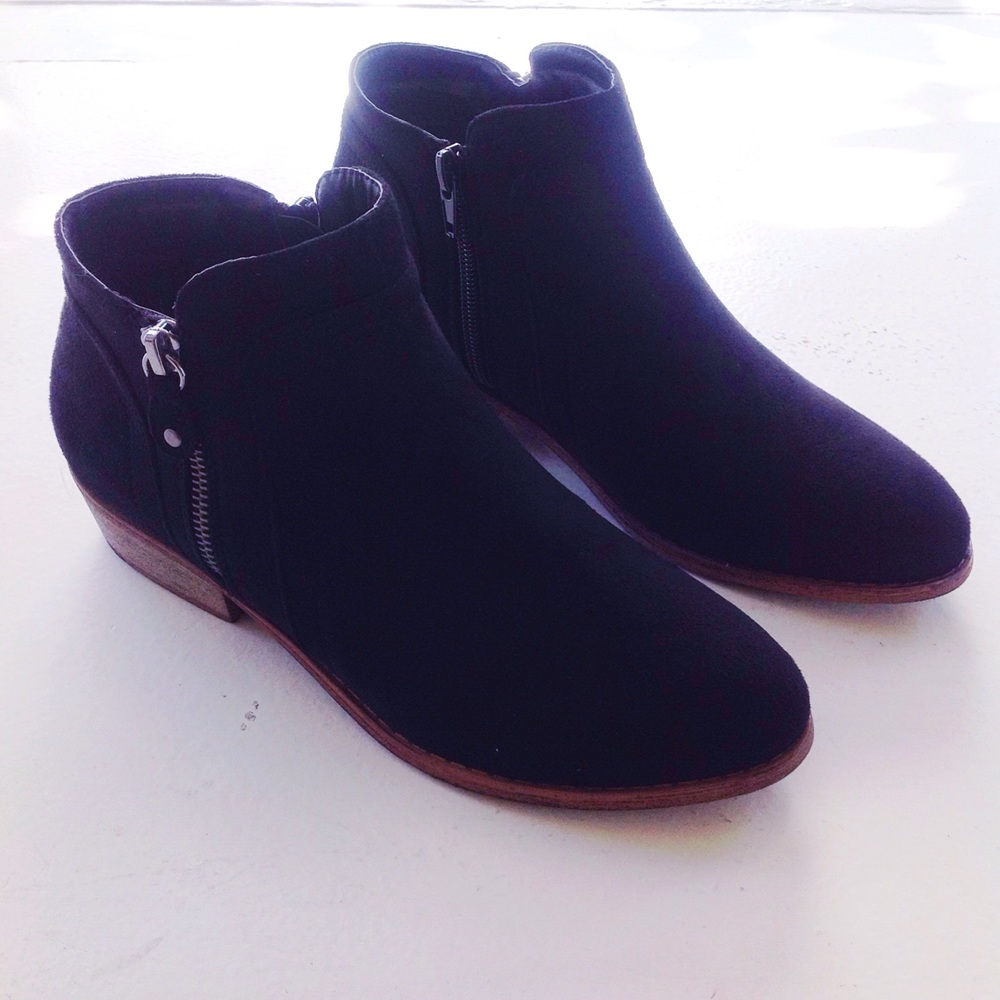 Black faux suede booties with side zippers, $45