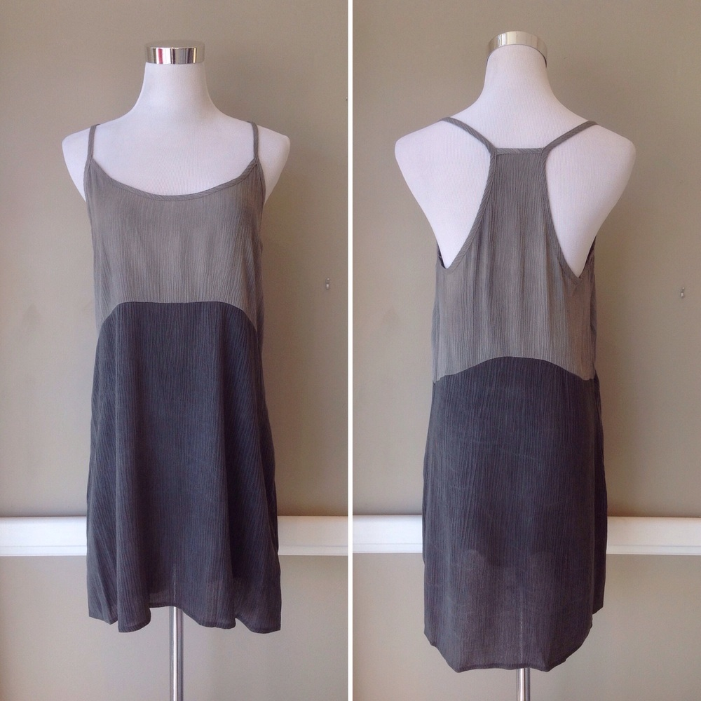 Crinkled colorblock dress with racerback, $32