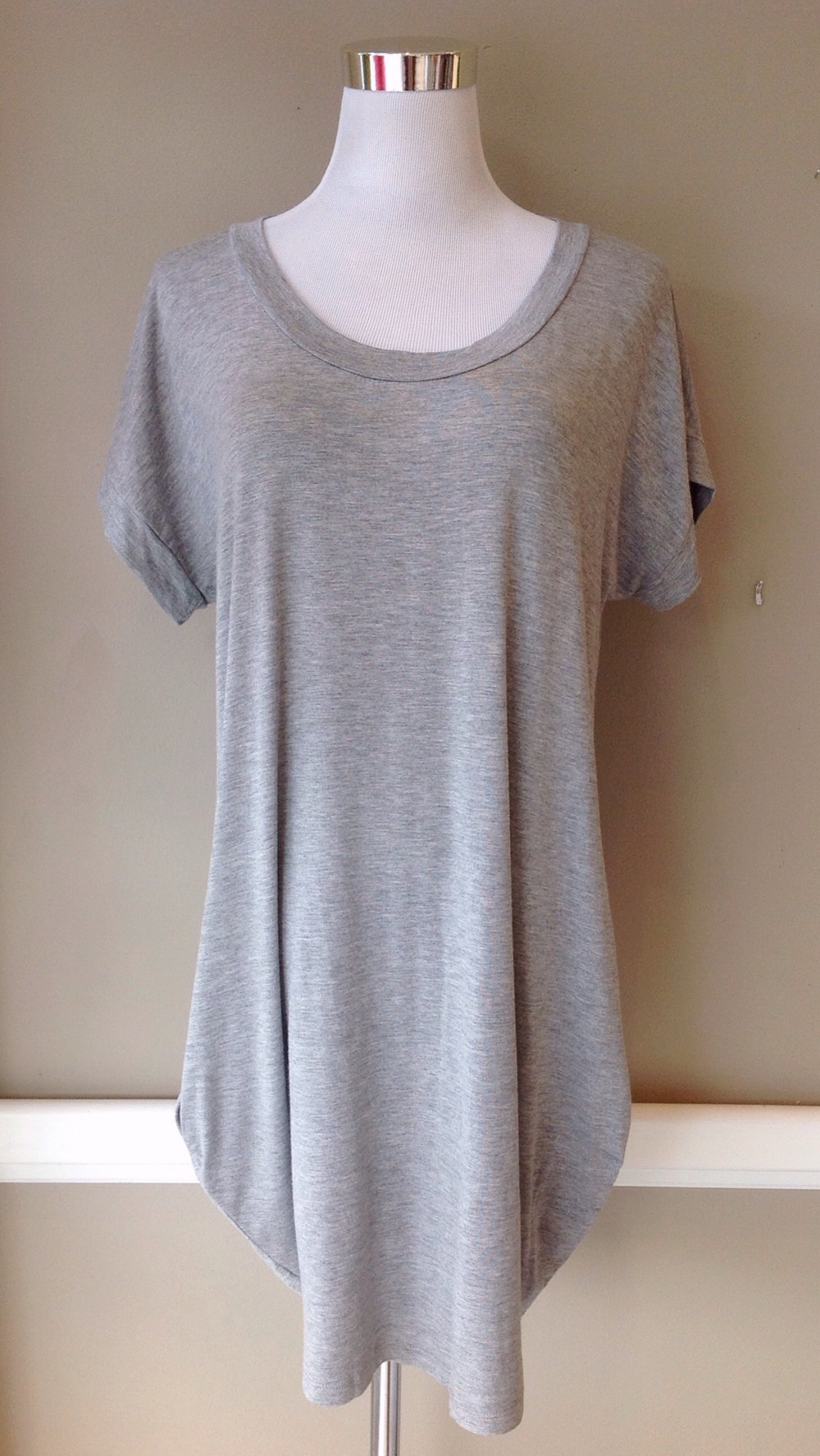 Heather grey knit shirt dress with side pockets, $34