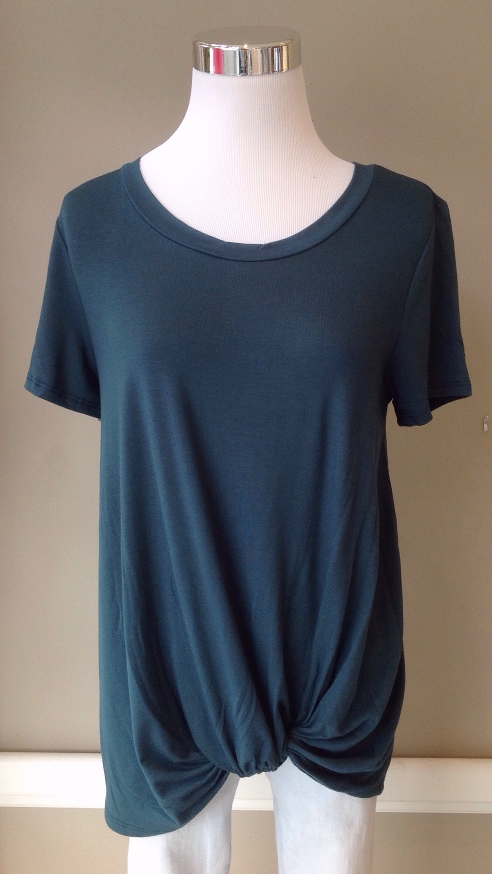 Knit twist tee in hunter green, $28