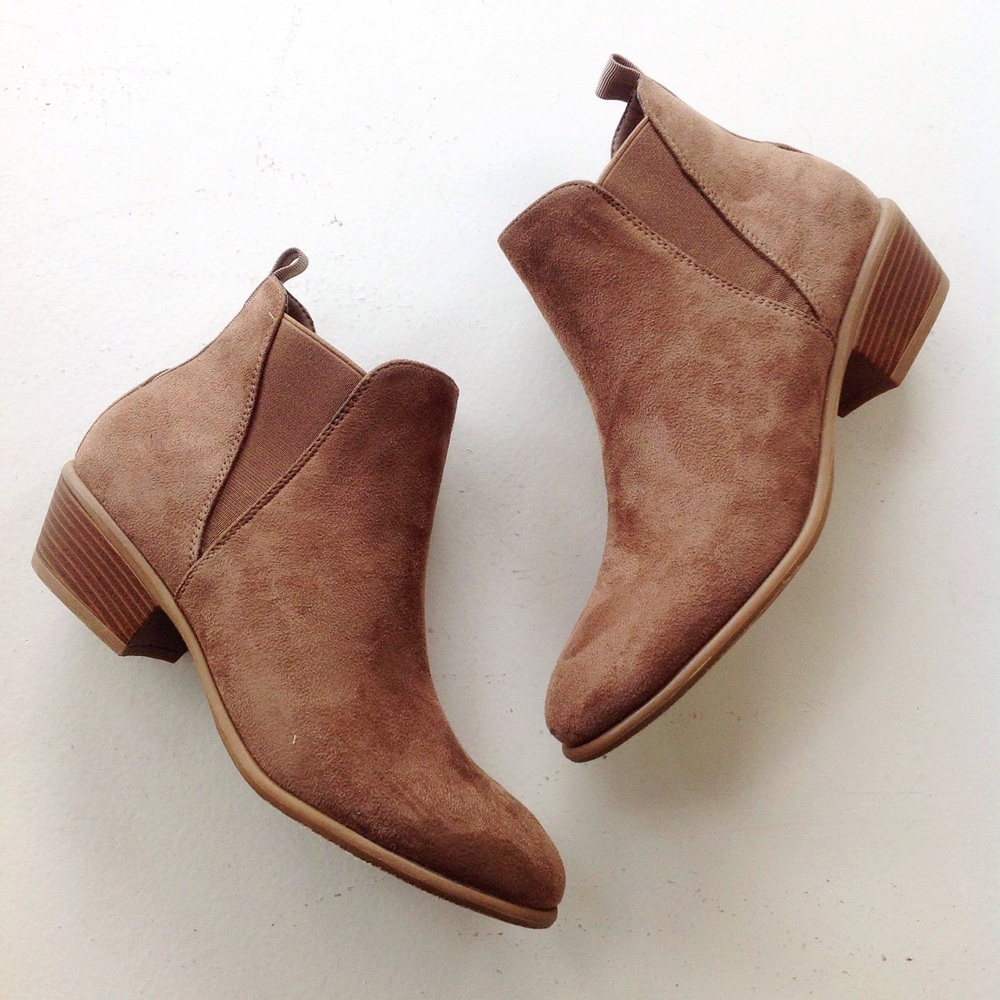 Faux suede brown booties, $45