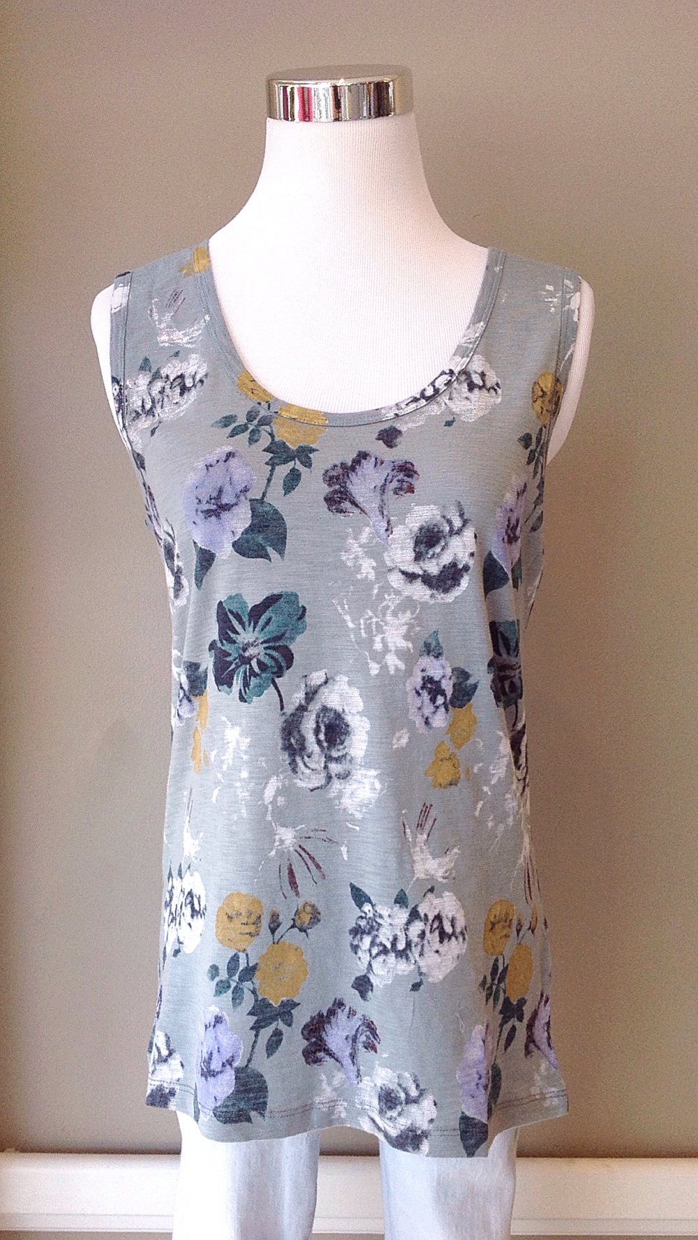 Cotton floral tank in mint/multi, $32