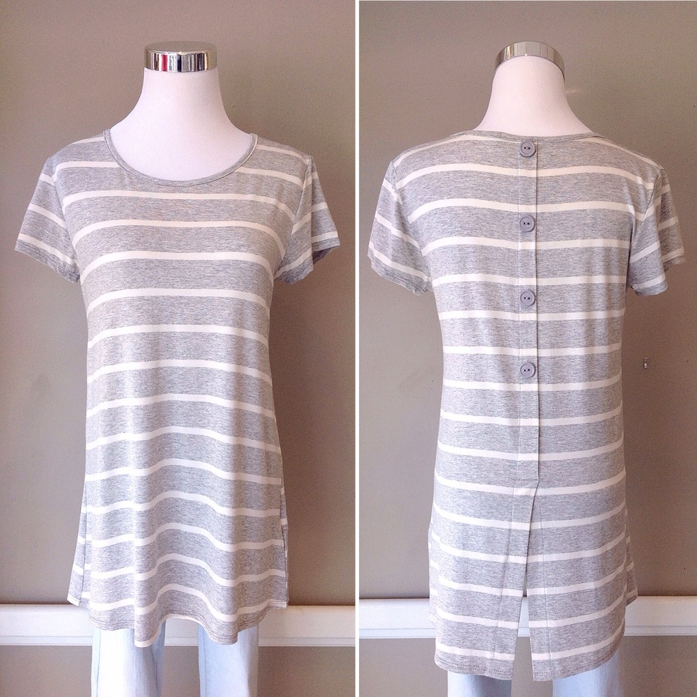 Grey and Ivory stripe knit tee with back button detail, $30