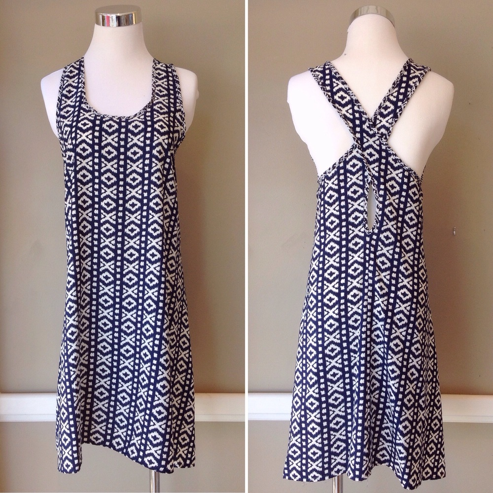 Lightweight woven tank dress in navy/white, $35