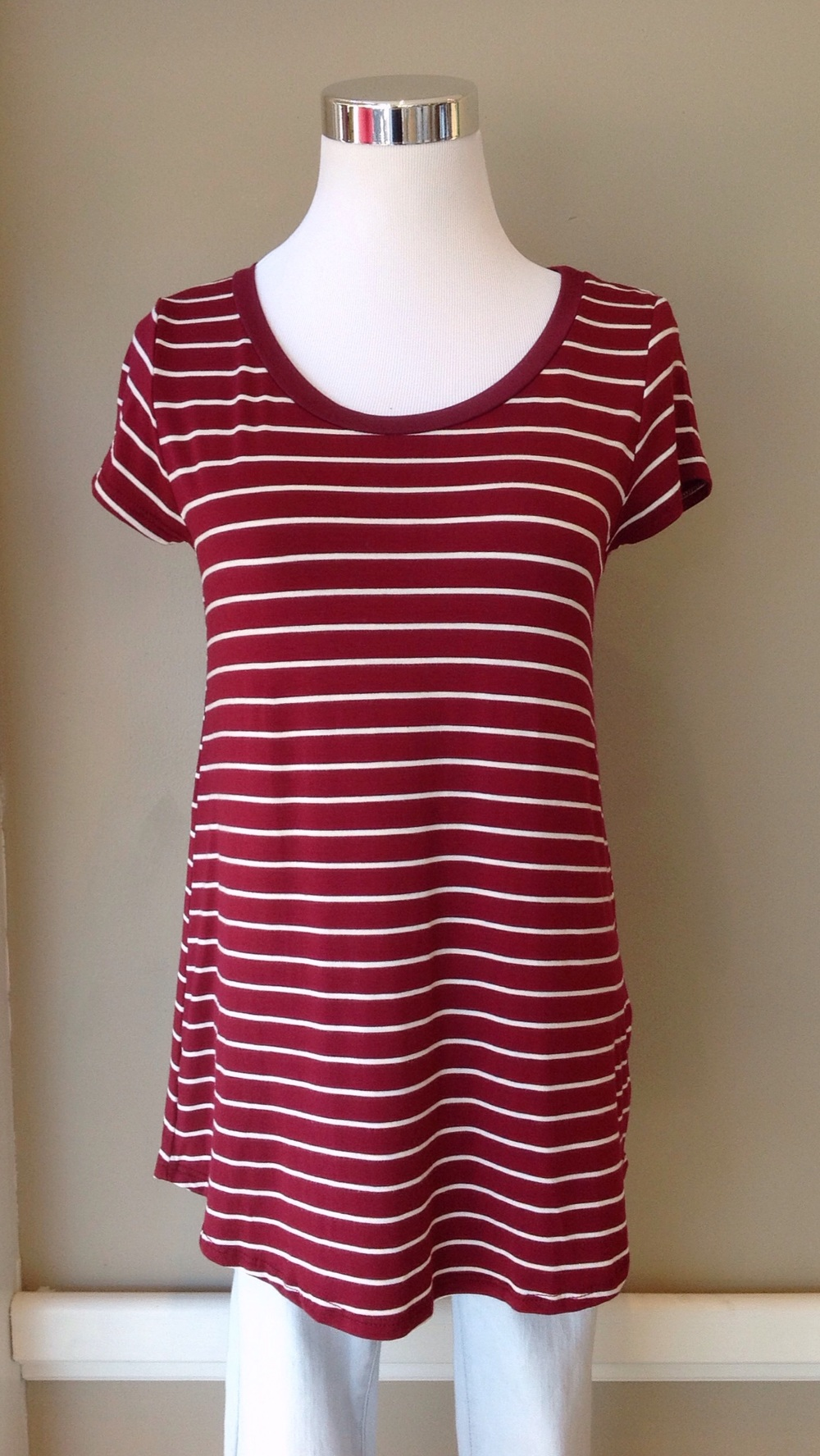 Soft knit tee in burgundy/white, $28