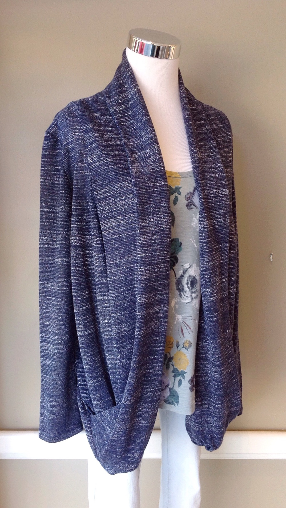Navy and white textured knit cardigan, $35