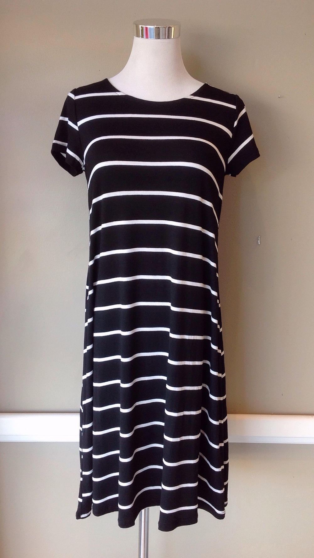 Black and white stripe T-shirt dress, $35