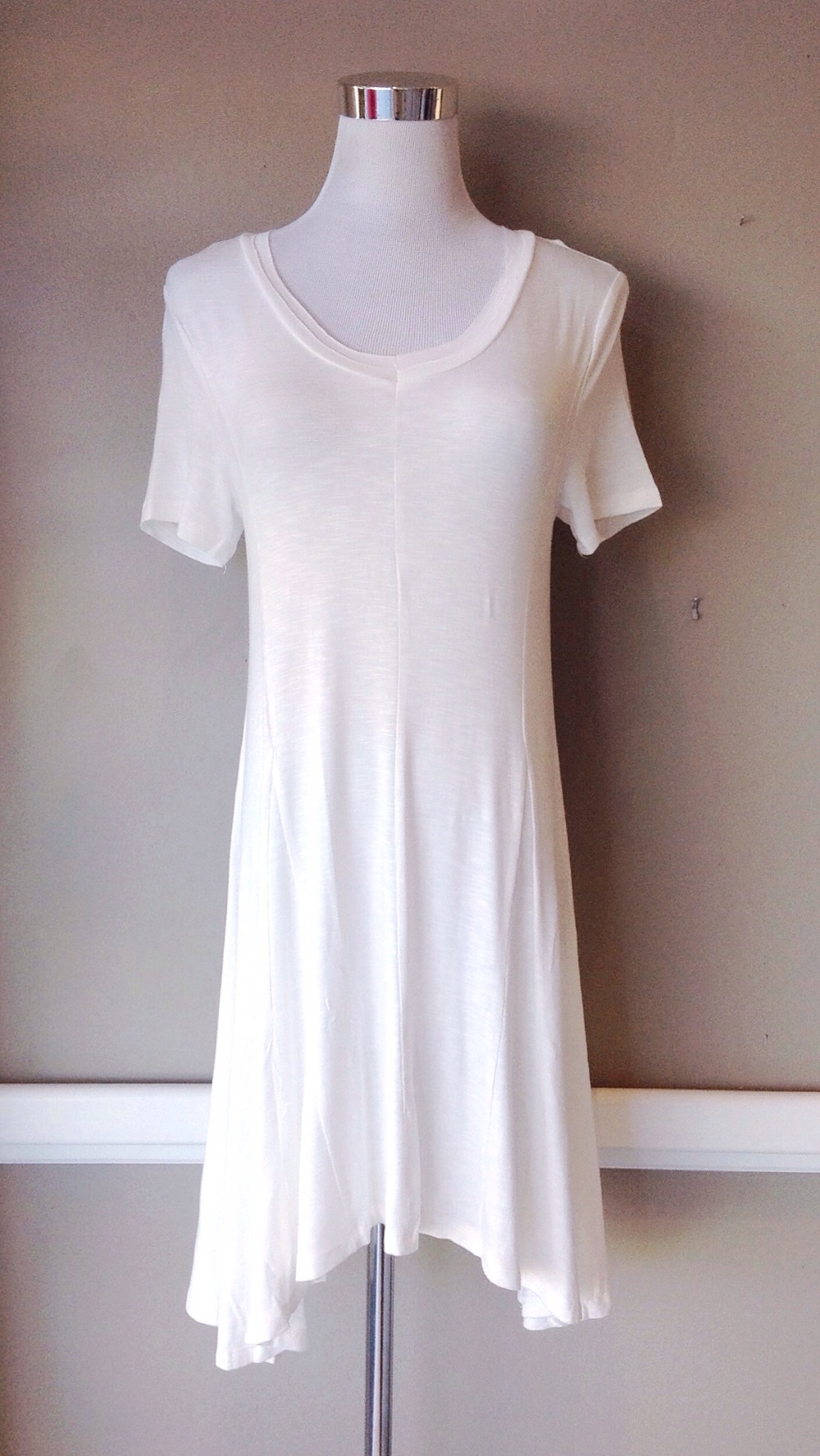 Textured rayon/spandex A-line T-shirt dress in cream, $34