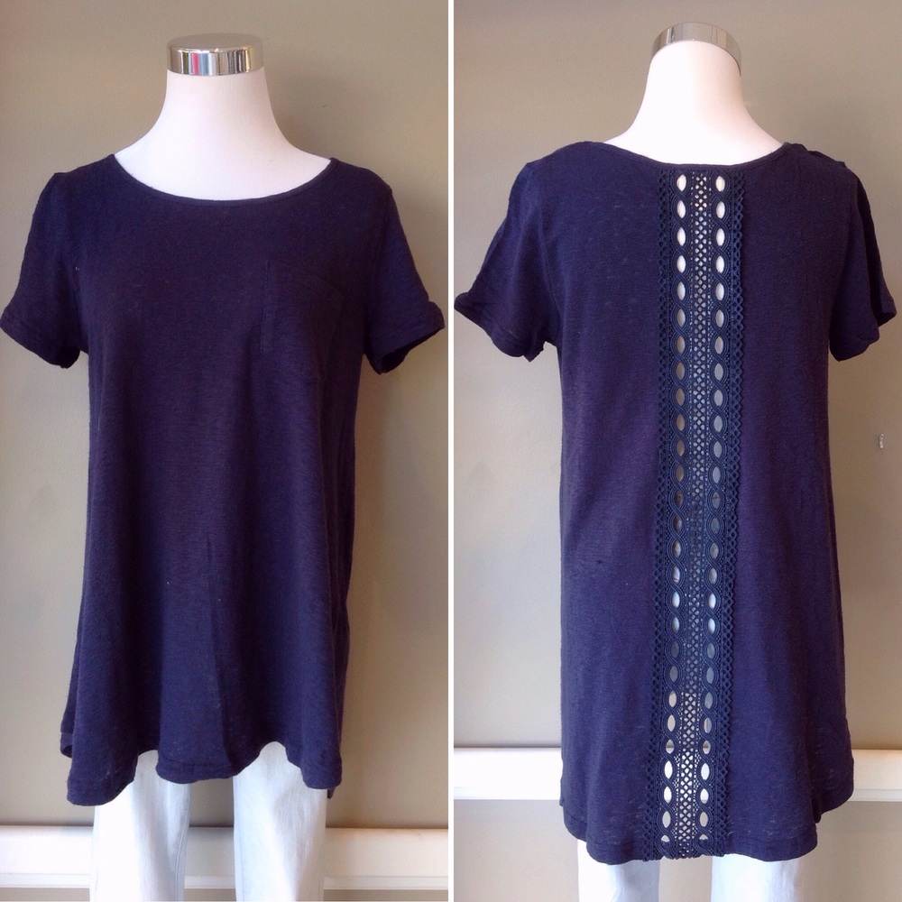Cotton tee with front patch pocket and back lace panel, $34