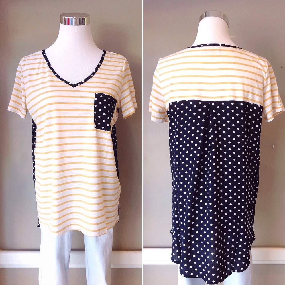 Stripe tee with contrasting polka dot patch pocket and back panel, $32