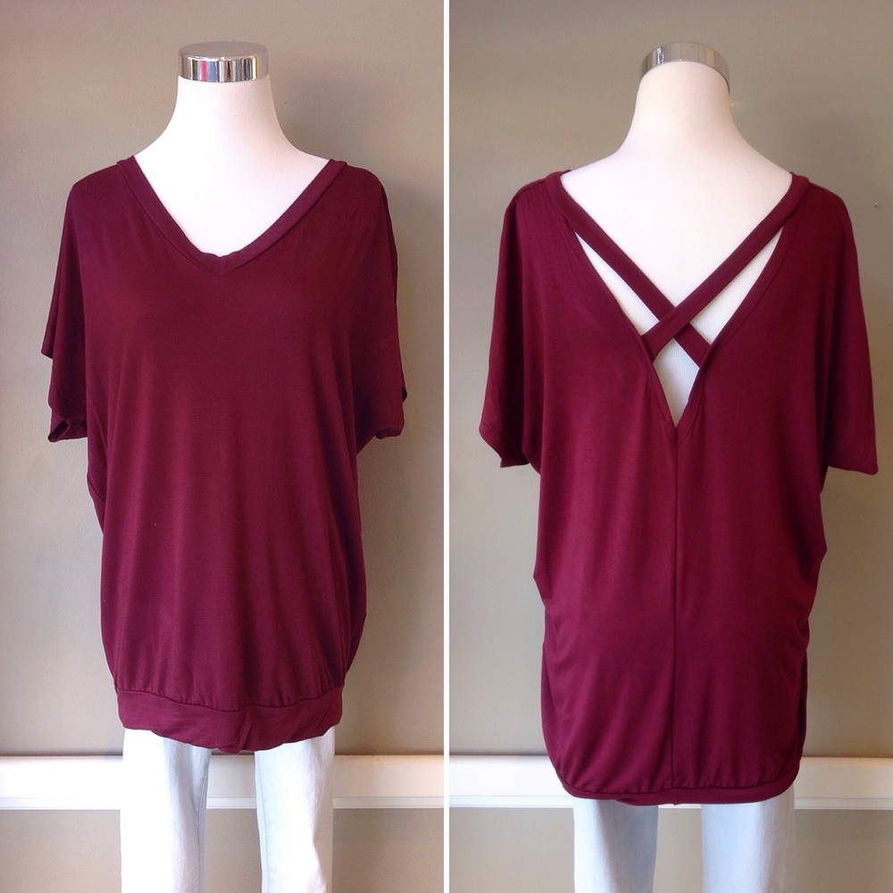 Jersey knit v-neck top with crisscross back, $28. Also available in emerald, and black.