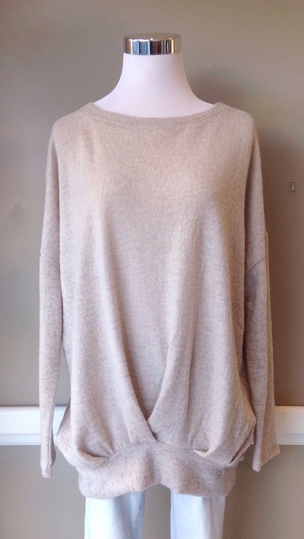Taupe sweater with boatneck and inverted pleat, $35