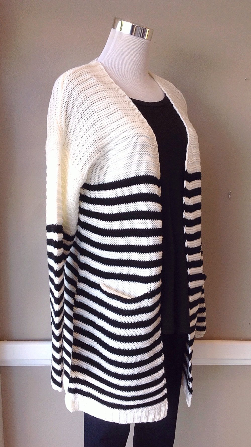 Chunky knit striped cardigan with pockets in black and ivory, $38