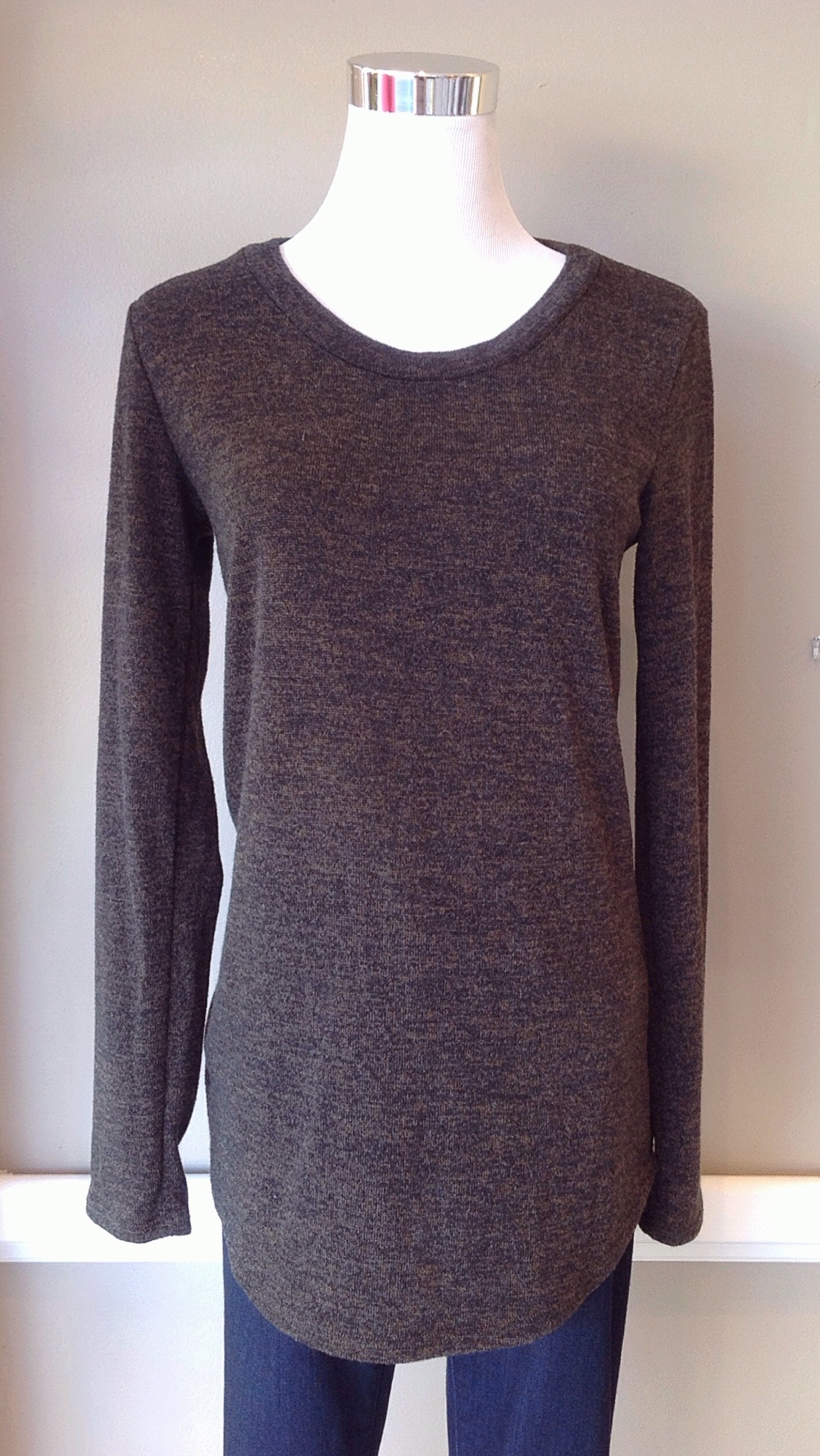 Olive double knit top with rounded hem, $32