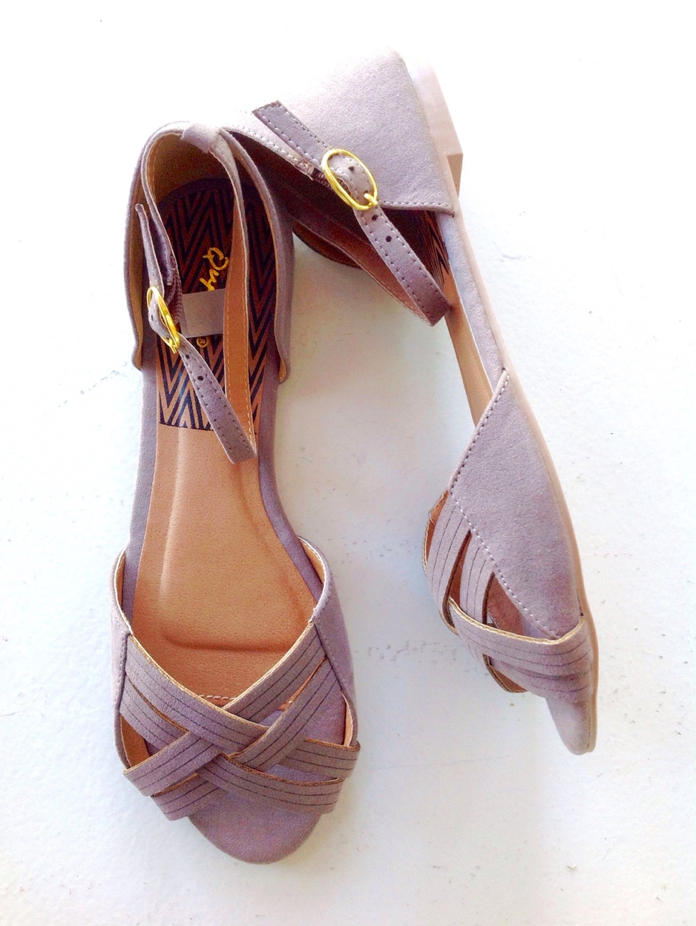 Taupe faux suede sandals. $32