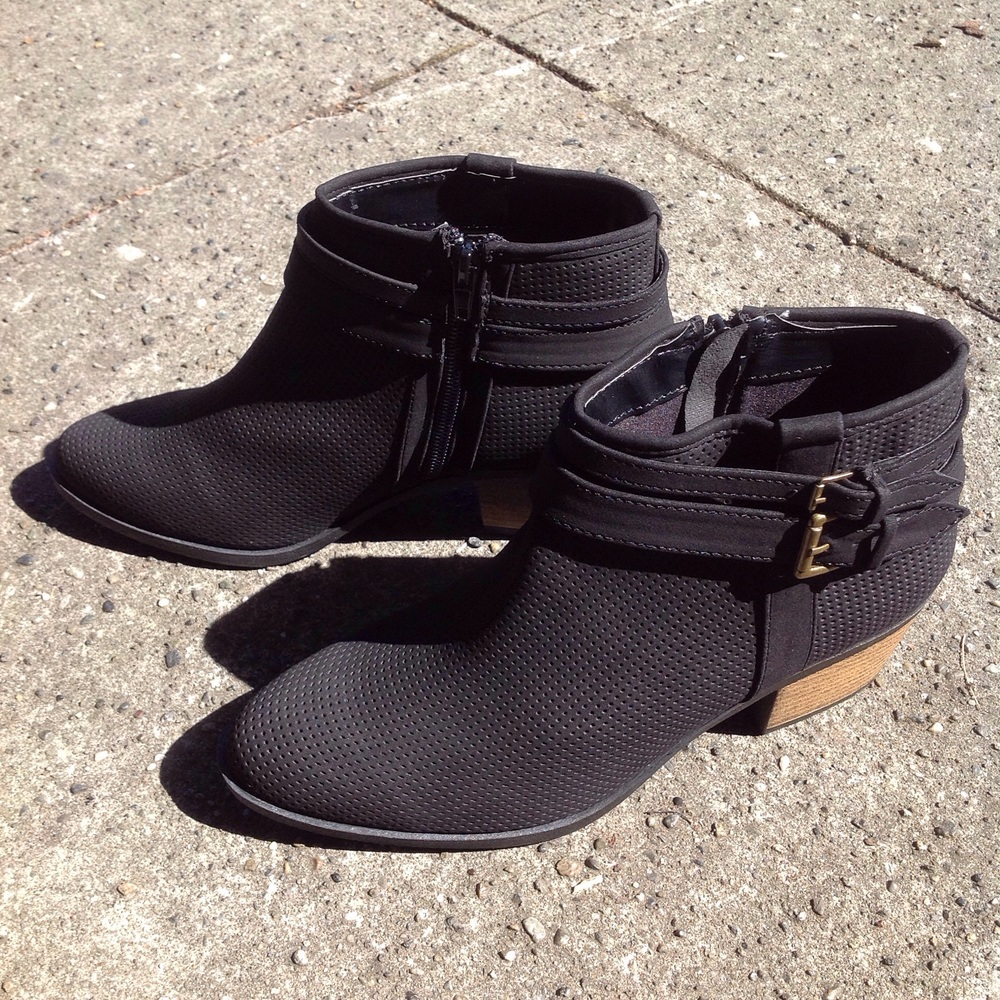 Black faux nubuck, perforated booties, $45