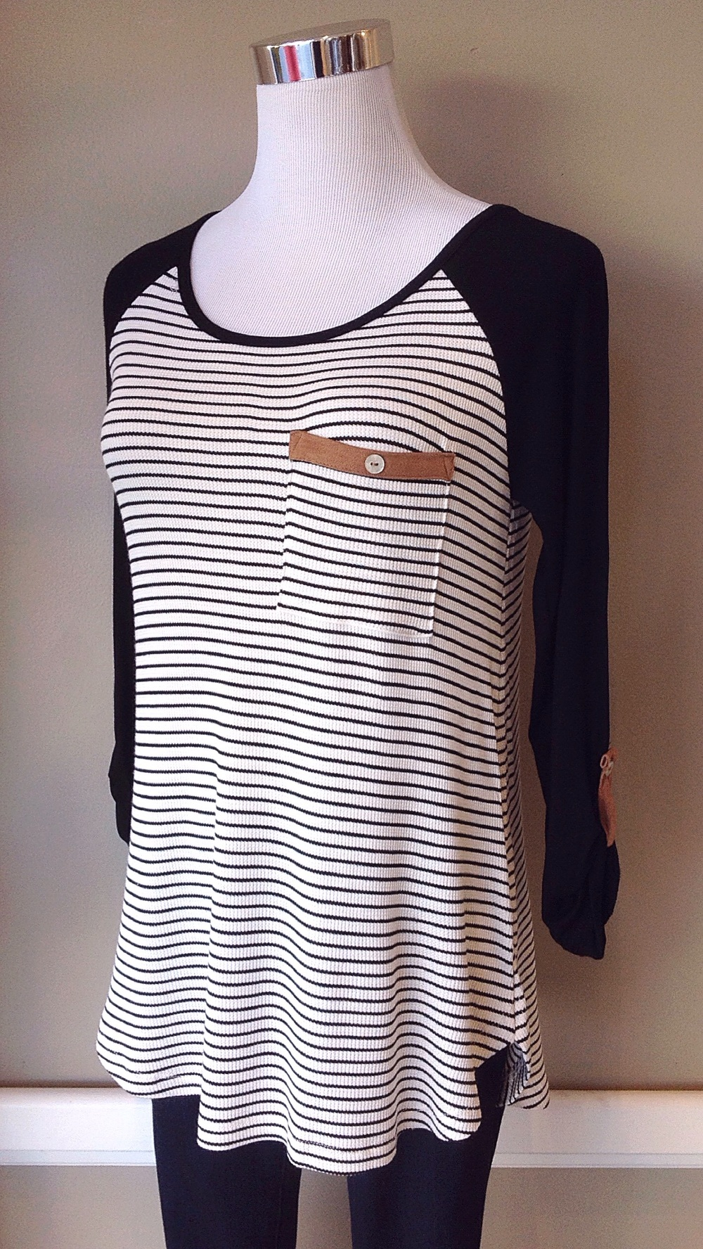 Black and ivory knit baseball top, $32