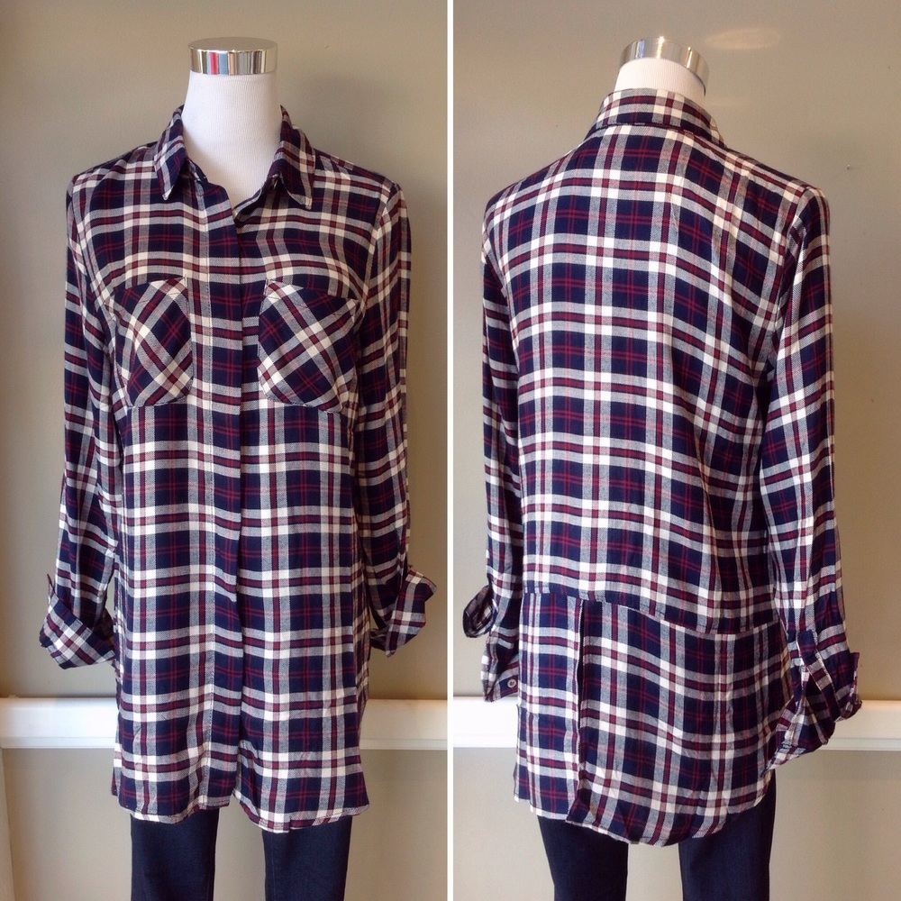 Lightweight plaid button-down with roll tab sleeves and back placket, $34