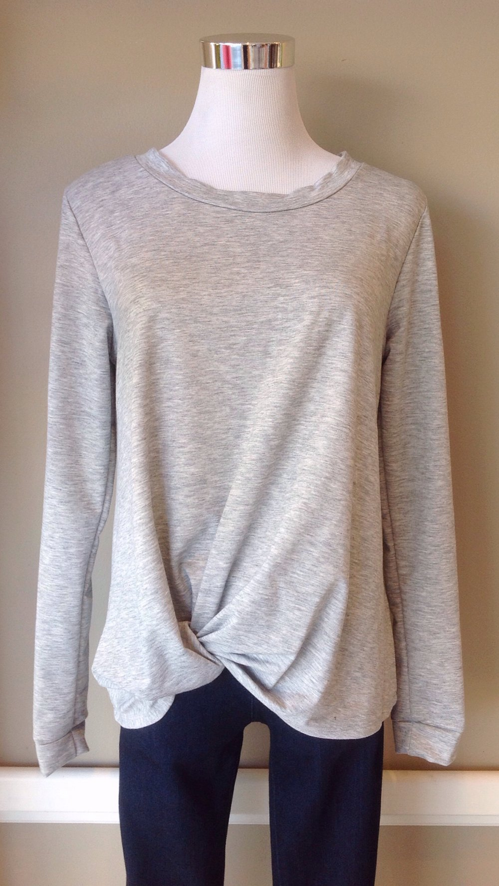 Twist front long sleeve top in heather grey. Also available in black.