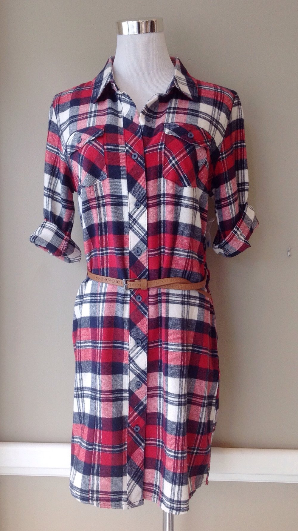 Lightweight flannel shirt dress with skinny belt, $38