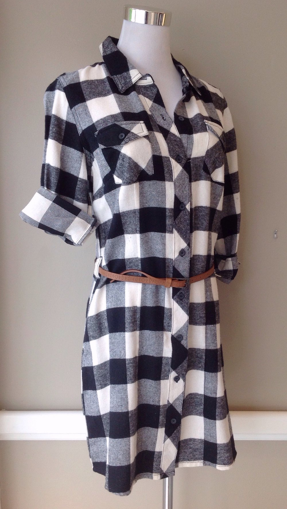 Buffalo check shirt dress with skinny belt, $38