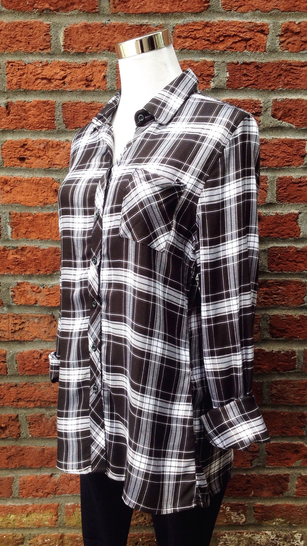 Black and white plaid shirt, $34