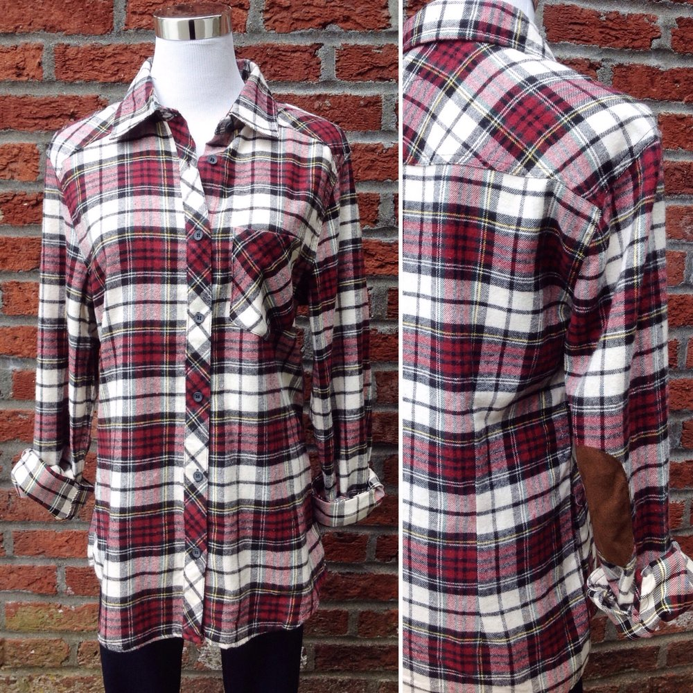Lightweight flannel shirt with elbow patches, $34