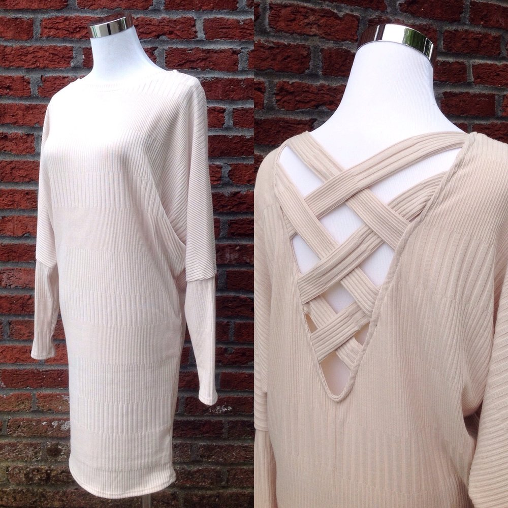 Textured knit dress with crossback detail in taupe, $40