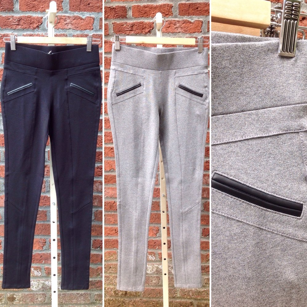 Ponte knit leggings with welt pockets, $34