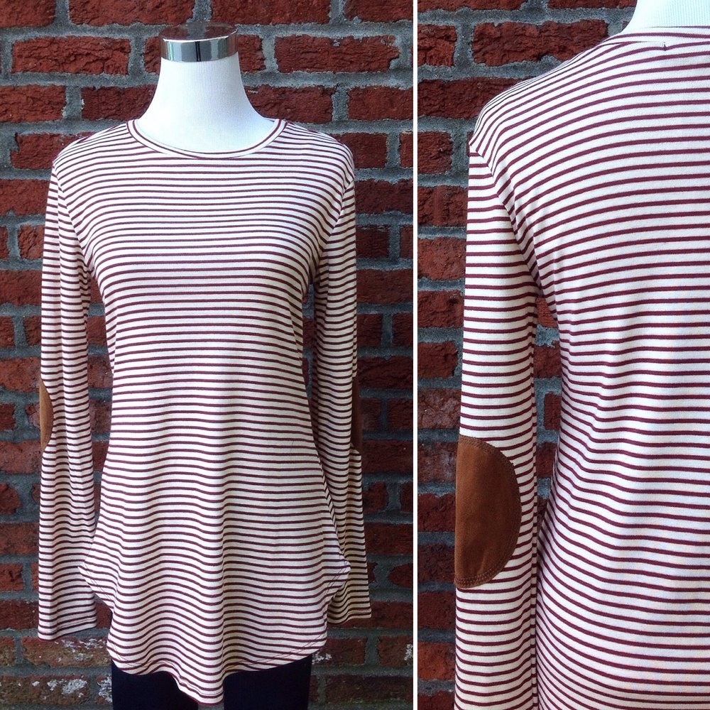 Ivory and burgundy stripe top with elbow patches and rounded hem, $32