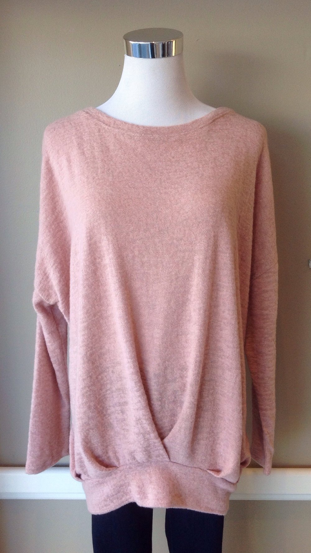 Front pleat sweater with batwing sleeves in blush, $35. Also available in charcoal and taupe.