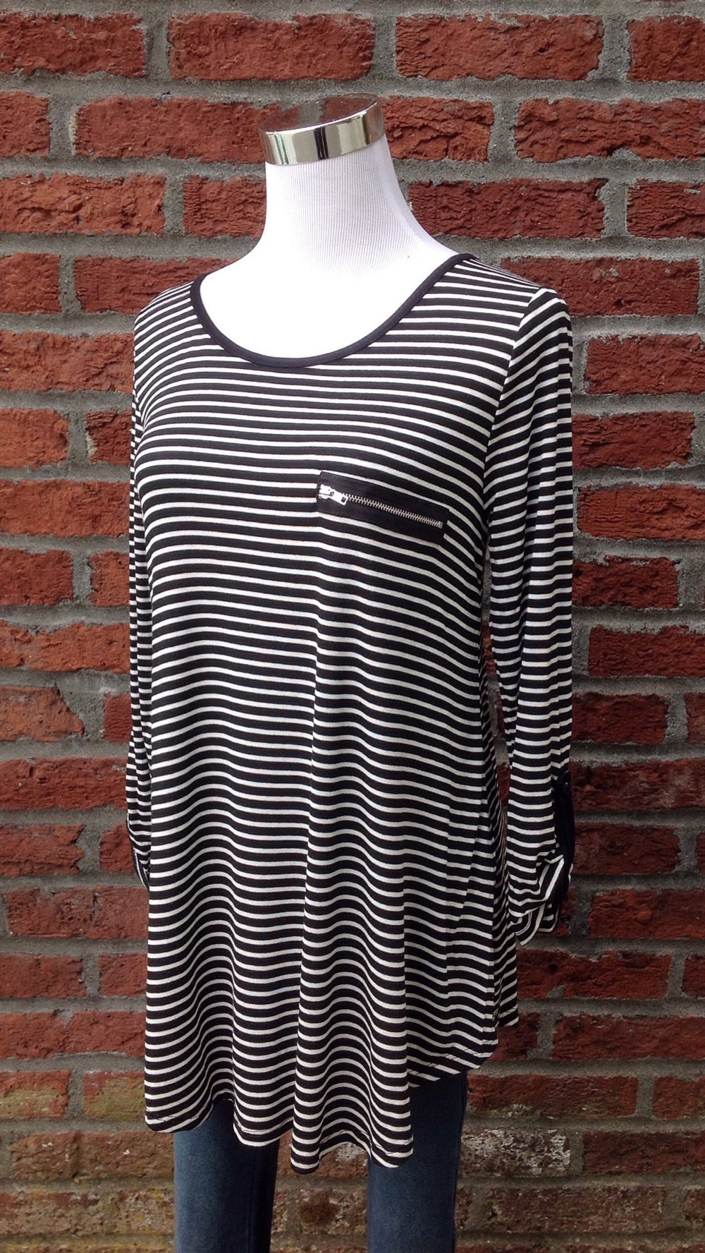 Black and white stripe top with faux zippered pocket and roll tab sleeves, $32