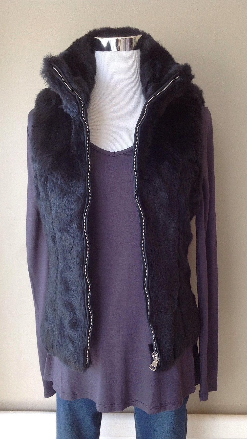Zip front faux fur vest in black, $48
