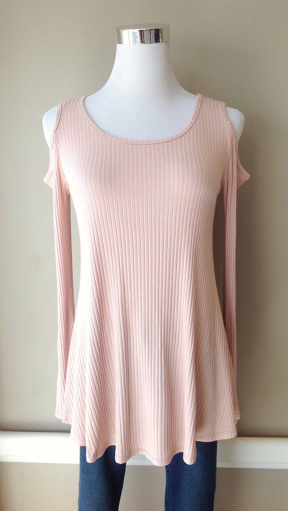 Pink rib knit top with shoulder cutouts, $32