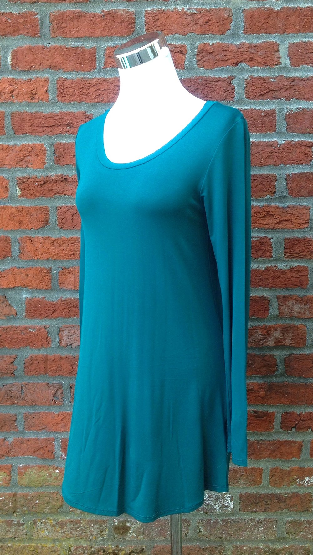 Modal long sleeve tunic in jade, $32