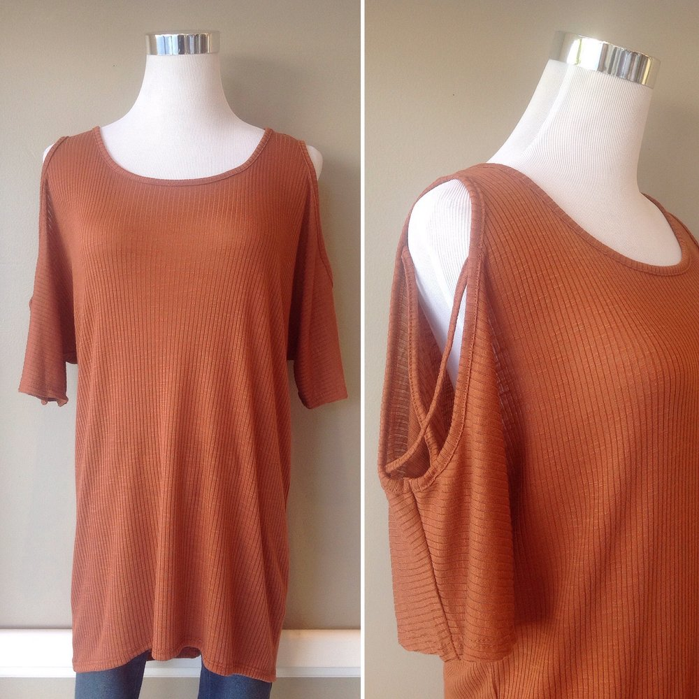 Rust rib knit top with lattice cutout sleeves, $32