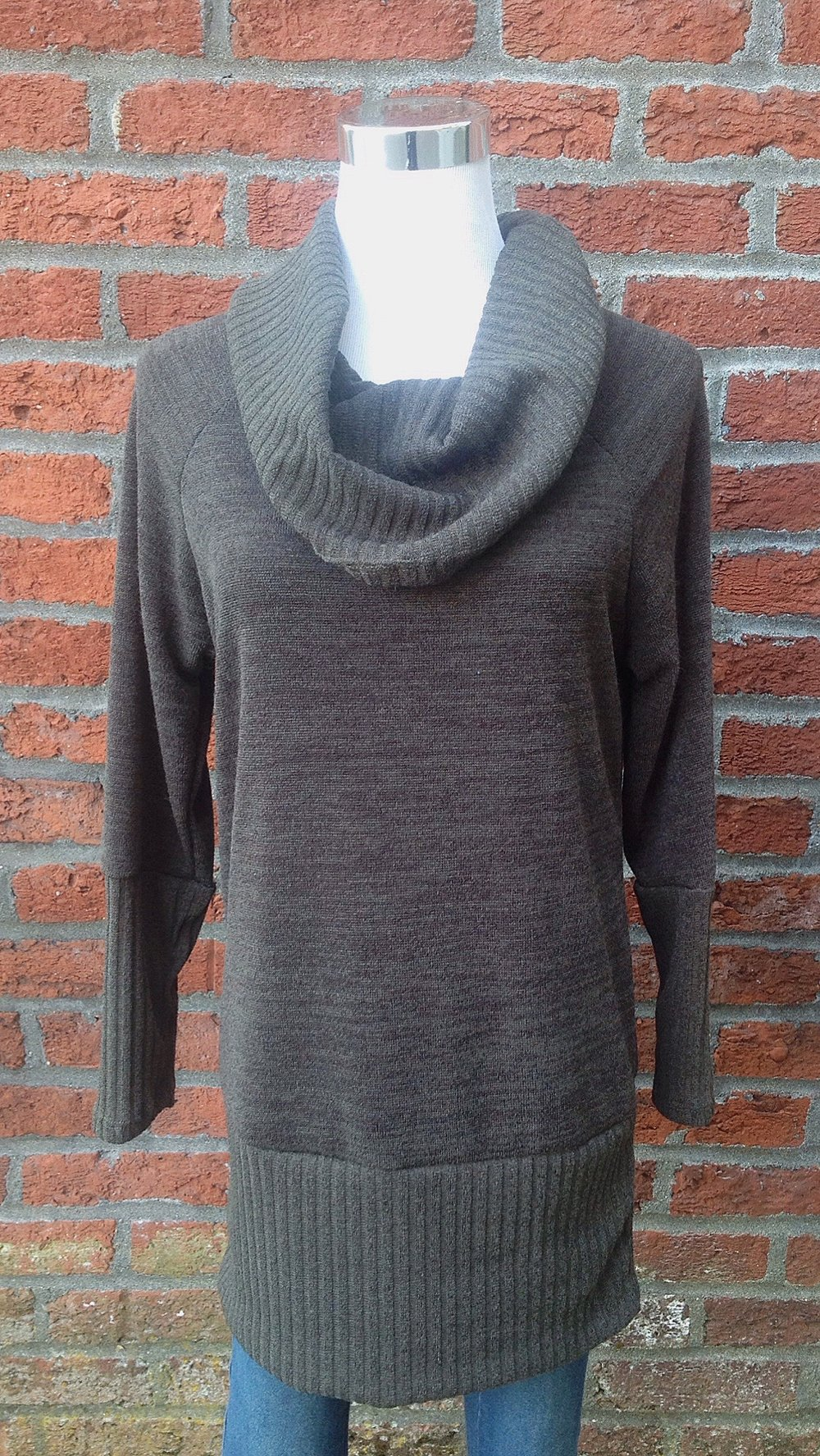 Long cowl neck sweater in olive, $35