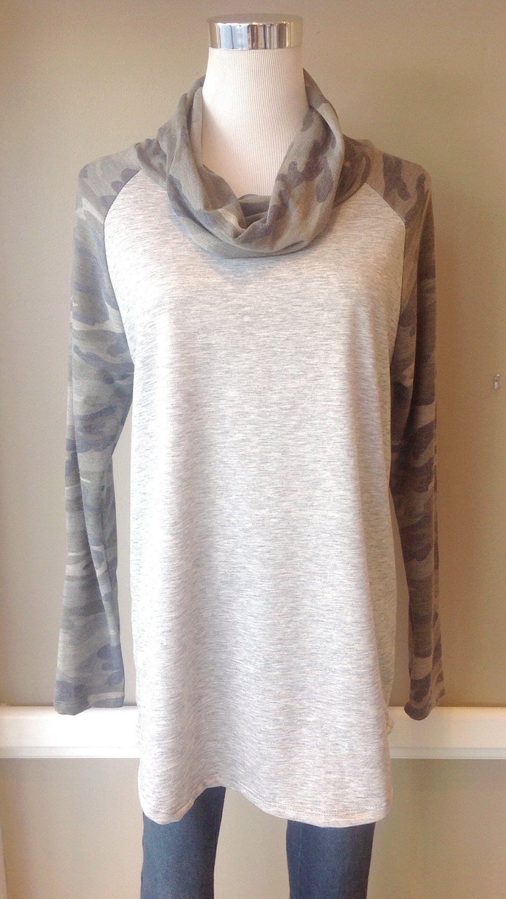 Camo print cowl neck top, $35