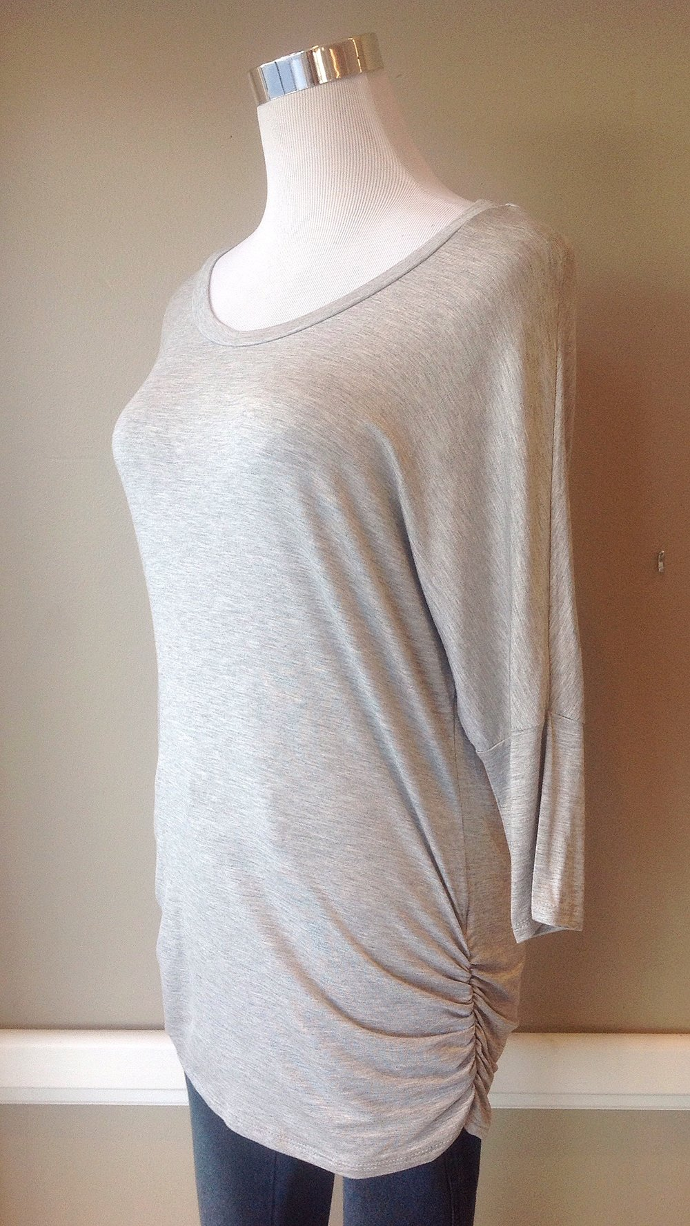 Heather grey jersey knit top with side ruching, $28
