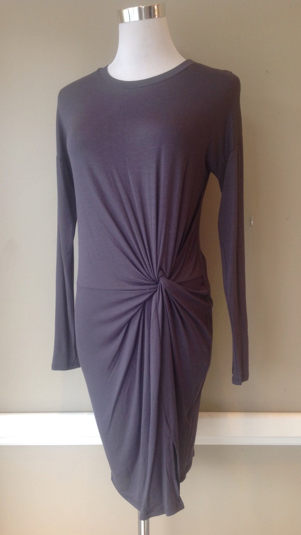 Jersey knit, long sleeve dress with a twist, in steel, $38