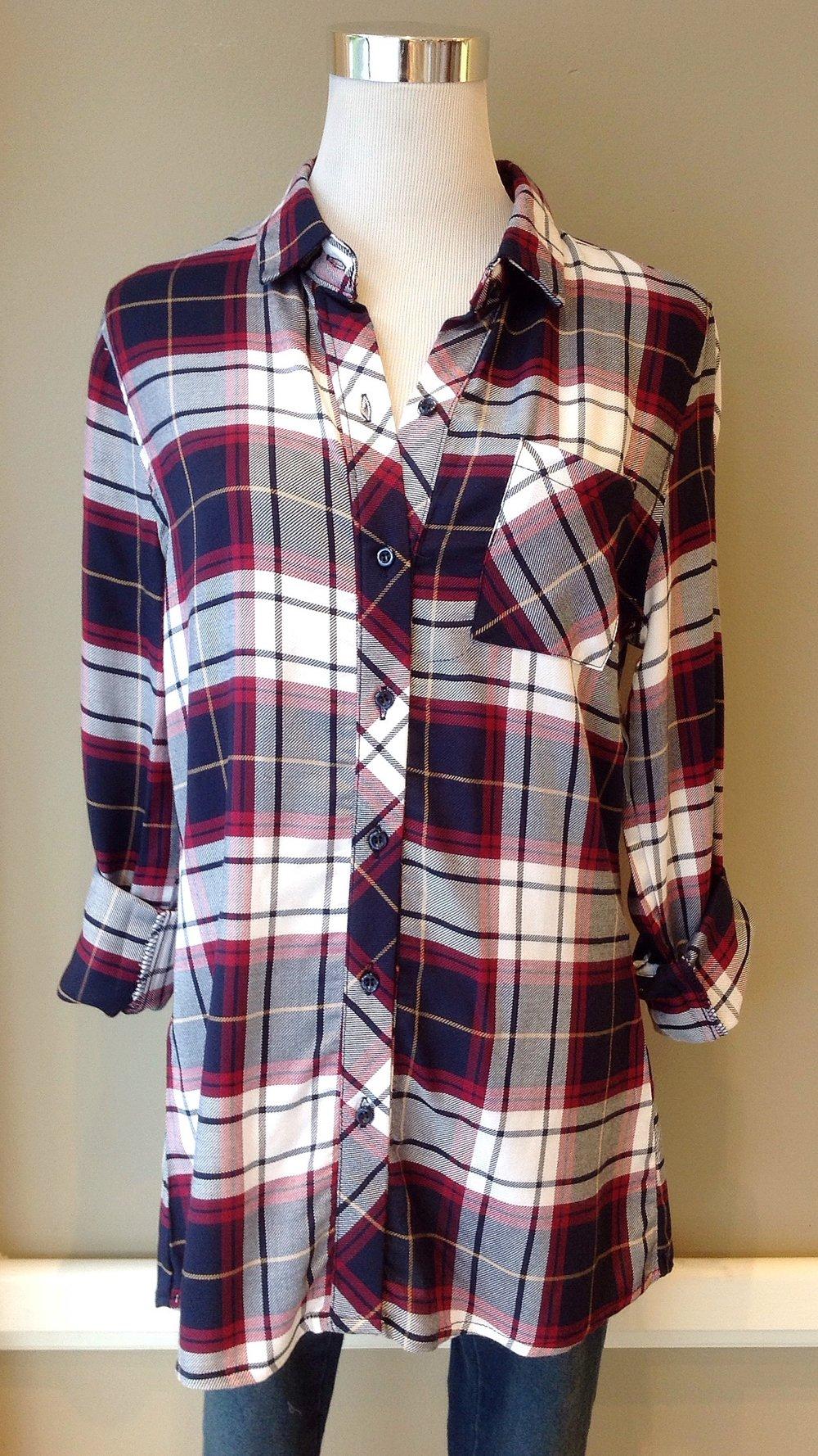 Woven rayon plaid shirt, $34