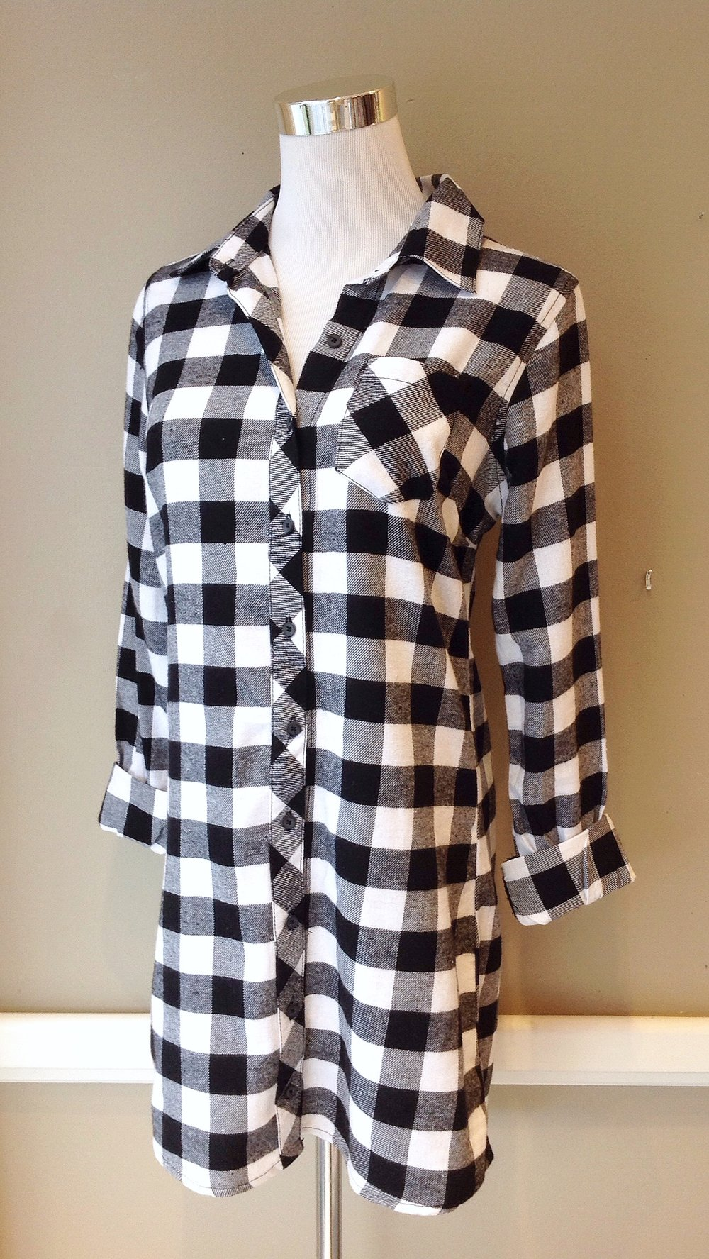 Black and white flannel shirt dress, $34